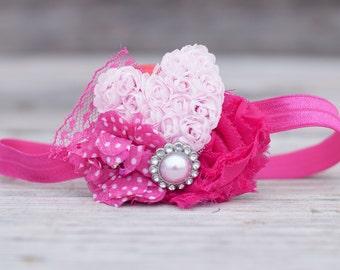 Pink Heart Baby Headband - Photo Prop - Baby Headband - Valentine's Day Headband - Flower Girl Headband
