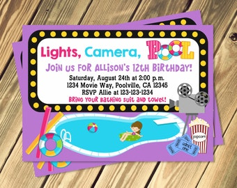 Pool and Movie Birthday Party Invitation Girl and Boy Options Print Your Own