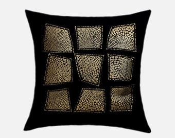 "Decorative Pillow Case, Home Decor, Black Wool Throw pillow case with Gold print fabric decoration, Fits 18"" x18"" insert, cushion case"