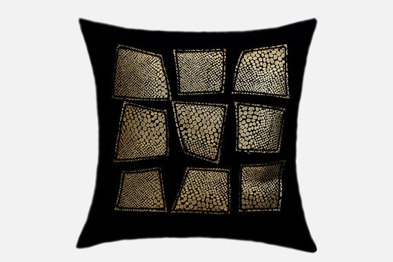 Black Decorative Pillow Cases : Decorative Pillow Case Home Decor Black Wool Throw pillow
