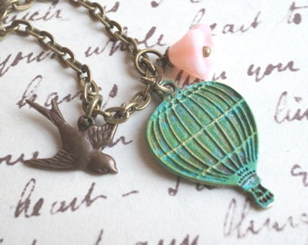 Hot Air Balloon Charm Necklace - Swallow, Balloon and Flower Charm Necklace
