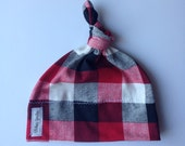 Buffalo plaid baby knot hat-Jersey knit baby knotted hat/beanie/infant/baby/toddler/slouch hat/lumberjack/