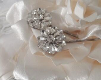 2 silver crystal bobby pins bridal rhinestone bobby pin hair pins wedding hair pin  hair accessories bridal accessories bridal hair pins