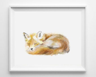 Fox Art Print,Fox Painting, Fox Print, Fox Baby, Fox Nursery Baby Wall Art