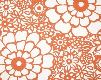 """Two  96"""" x 50""""  Custom  Lined  Curtain Panels -  Duralee Thomas Paul Seedlings Fiesta - Orange"""