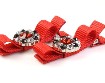 Baby Hair Clips Nr1024, Red, Christmas, Valentine's Day, Hair Clips, Hair Bows, Baby Toddler, Newborn, Flower Girl, Rhinestone, Hairbows