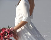 White maxi crepe chiffon dress with scoop back