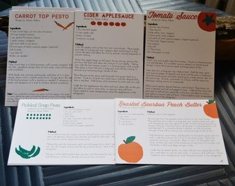 Recipe Stationery Set - Blank Seasonal and Local CSA Vegetable and Fruit Recipes - 10 Cards & You Choose Color Envelopes
