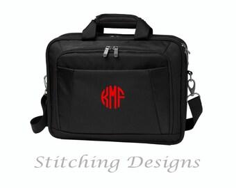 Monogrammed briefcase, messenger bag, Computer bag, Computer case