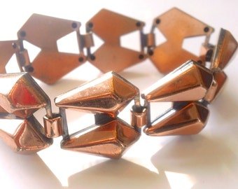 Chunky Copper Modernist Bracelet Vintage Retro Madmen Jewelry Fashion Accessory