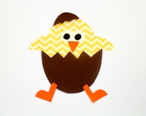 Easter Chick Iron On Applique for Onesie, T-shirt, Bib, Burp Cloth, Bag, Place Mat, Etc.