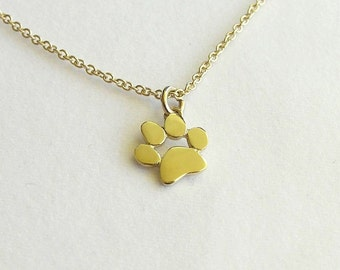 Paw Print Necklace Pendant - 14k Gold Necklace - Solid Gold Jewelry - Animal Jewelry - Cat and dog Lover