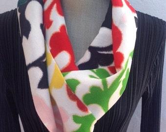 Vintage Kimono silk infinity scarf,  Bright colours, FREE SHIPPING