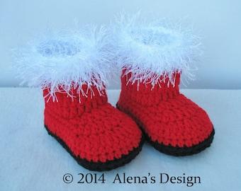 Crochet Pattern 108 for Toddler Santa Boots - Crochet Boot Pattern - Crochet Slipper Pattern - Boots Crochet Pattern - Christmas Santa Boots