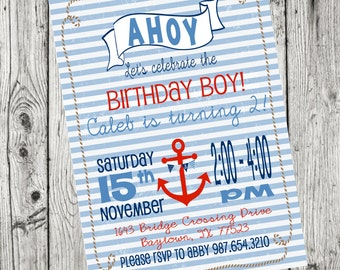 NAUTICAL BIRTHDAY Invitation - DIY Printable Nautical Invite - Nautical Birthday Boy Party - Nautical Birthday Invitation - Ahoy - Anchor