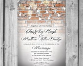 Brick Wall Light Strand Wedding Invitation Set