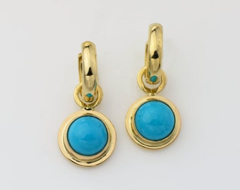 14K Gold Turquoise Earrings Sleeping Beauty Turquoise Jewelry Gold Hoop Earrings Turquoise Earring Jackets Removable Hoops Arizona Turquoise