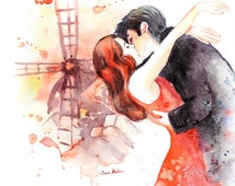 Moulin Rouge Movie poster inspired Watercolor Print - Romantic Couple Kiss