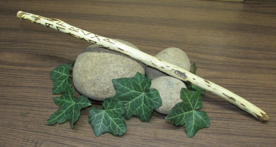 Walnut wood gandr wand with elder futhark runes by for Elder wand runes