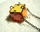 Red, Orange, Yellow Cube Necklace, Enamel Jewelry, Cube Pendant