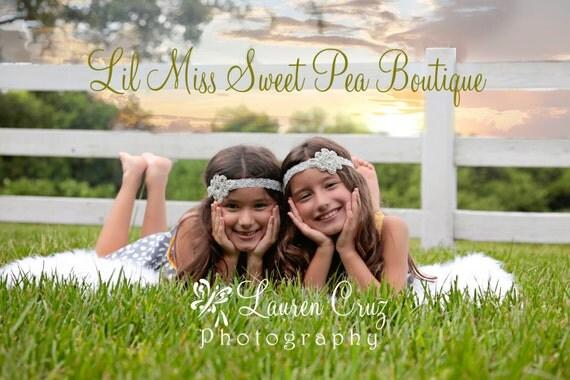 Rhinestone Applique Headband on Stretch Lace, baby headband, prop, weddings, bride, bridesmaid, Christmas, bling, by Lil Miss Sweet Pea