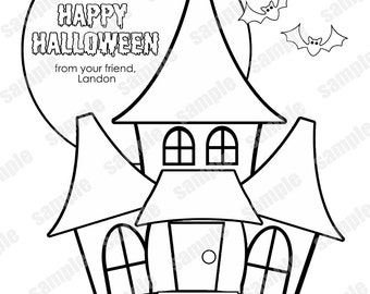 Personalized Printable Halloween Classroom Party Favor Childrens Kids Coloring Page Activity PDF Or JPEG File