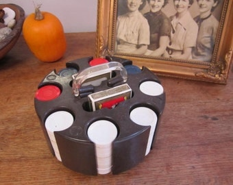 Vintage  Poker chip caddy complete.