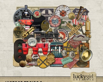 Vintage Trains 1 Digital Scrapbook Kit