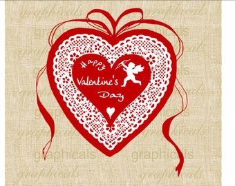 Valentine red heart Cupid Ribbon instant Digital download image for iron on fabric transfer burlap decoupage pillows card tote bags No. 1805