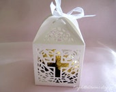 12 Holy Cross White Favor Boxes for Christening Favors, Baptism Party, Confirmation, First Communion Celebration, Religious Favors