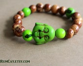 Happy Buddha and acai seeds Bracelet - choose your color -  yoga, yogi, namaste, mala,