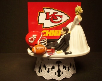 CHIEFS KANSAS CITY Football couple Bride and Groom wedding cake topper sports funny Grooms cake