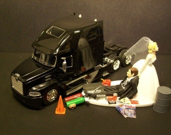 wedding cake topper with truck auto mechanic peterbilt tractor trailer semi by mikeg1968 26664