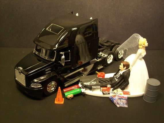 wedding cake toppers pickup truck auto mechanic mack truck hauler tractor semi by mikeg1968 26578