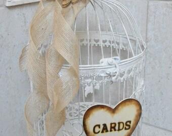 Large Rustic White Wedding Birdcage Card Holder / Round Birdcage / Burlap Wedding / Rustic Wedding / Wedding Card Box / Wedding Card Holder
