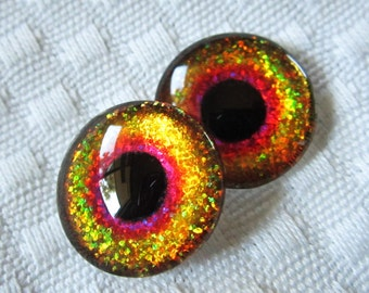 Glass eyes for  sculptures and jewelry 18mm cabochons