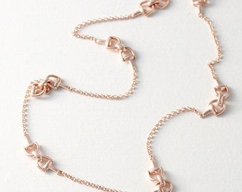 Rose Gold Horsebit Chain Sterling Silver Necklace