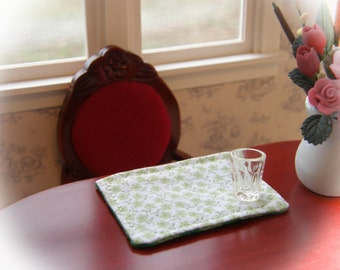 Dollhouse Miniature Reversible Placemats Set of 4, In 1:12 Scale - light green floral reverses to shamrocks