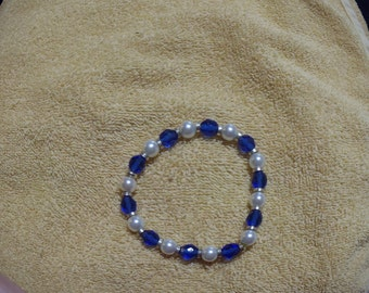 Blue & White Stretch Bracelet