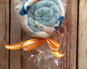 Washcloth Lollipops for a baby boy - an adorable baby shower gift, available now