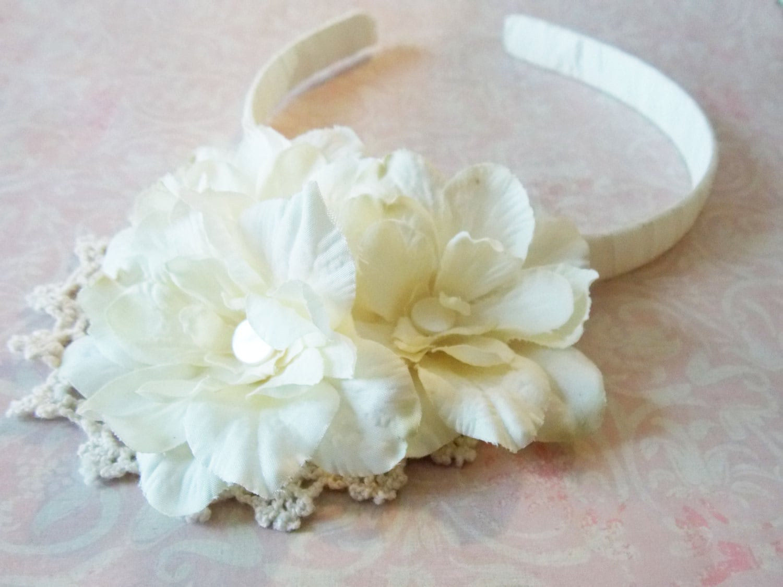 Flower Girl Hair Accessory Flower Hair Band Ivory Flower