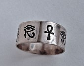 Reserved for Pinky, size 5, Egyptian ring, Hieroglyph ring, Eye Of Horus, Ankh cross ring, Cartouche ring, sterling silver, message rings,