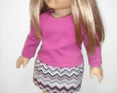 """Doll Clothe Chevron Skirt and Plum Top Also Fits Similiar 18"""" Dolls"""