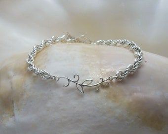 Bracelet: Delicate Branch Argentium  & Sterling Handcrafted Chainmaille Bracelet