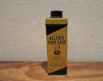 Vintage Allen's Foot Ease Boric Acid Alum Talcum Powder Tin, 3oz