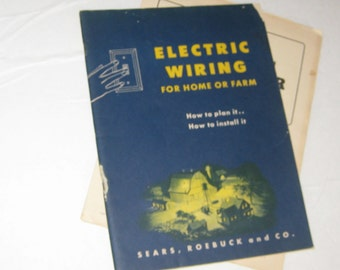 Vintage 1940'S Book ELECTRIC WIRING For Home and Farm Sears Roebuck and Co