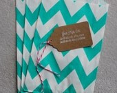 Aqua/Teal and White Chevron Goodie Paper Bags-12 count