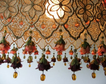 Small  Silk Flowers Autumn Colors Golden Ceiling Shade Medium Size-Hanging lamp shade