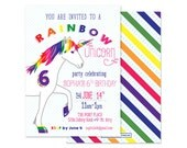 RAINBOW UNICORN Birthday Invitation - Stripes, Rainbows - Customized Printable or Printed Invitation