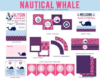 PREPPY WHALE Birthday Collection, Pink and Navy, Nautical , Custom Printable